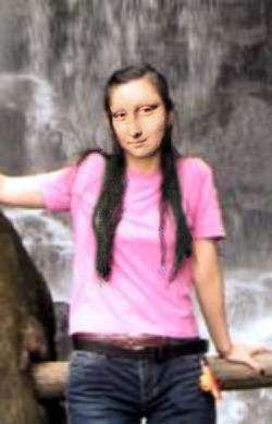 Mona at the waterfall