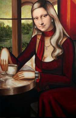 Mona having Coffee