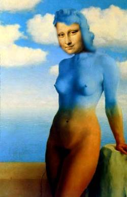 mona in blue