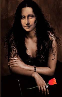 Mona Lisa holding a Tulip