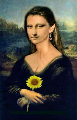 Mona Lisa Holding Sunflower