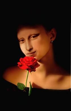 Mona Lisa mit Rose