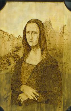 mona lisa on wood