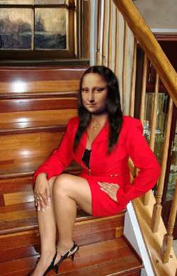 Mona Lisa Sitting on The Stairs