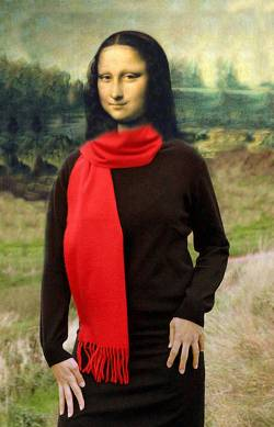 Mona Lisa wearing red Scarf