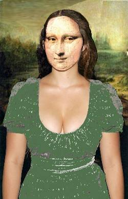Mona Lisa with low neckline green dress