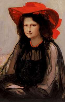 Mona Lisa with Red Hat
