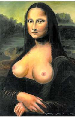 Mona No Lisa (Topless Mona Lisa) Oli Painting by Wilko
